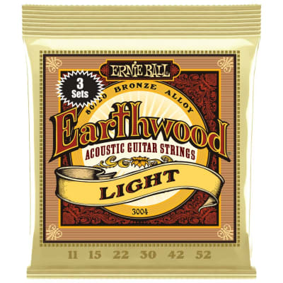 Ernie Ball Earthwood 80/20 Bronze Acoustic Guitar String 3 Pack - Light (11-52)
