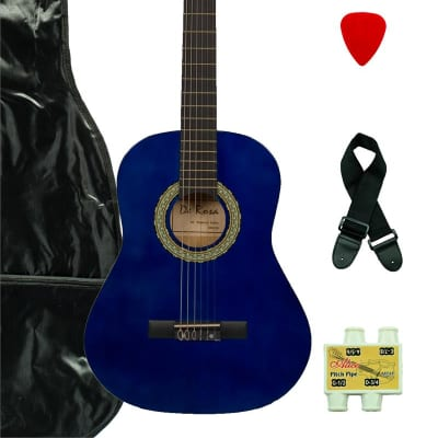 De Rosa DKF36-BU Kids Classical Guitar Outfit Blue w/Gig Bag, Strings, Pick, Pitch Pipe & Strap for sale