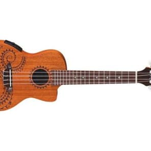 Luna Guitars Uke Tattoo Concert Acoustic-Electric Ukulele for sale