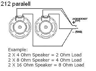 2 16 Ohm Speaker In Parallel Wiring Diagram likewise 4 Point Wiring Harness moreover Parallel Speaker Wiring besides 8 Ohm Speaker Wiring Diagram as well Wiring Diagram Guitar Jack. on 4 ohm guitar speaker wiring diagram