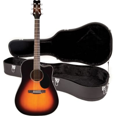 Jasmine JD39CE-SB Dreadnought Cutaway Spruce Top 6-String Acoustic-Electric Guitar w/Hardshell Case for sale