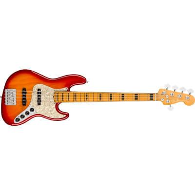 Fender American Ultra Jazz Bass V, Maple Fingerboard, Plasma Red Burst for sale