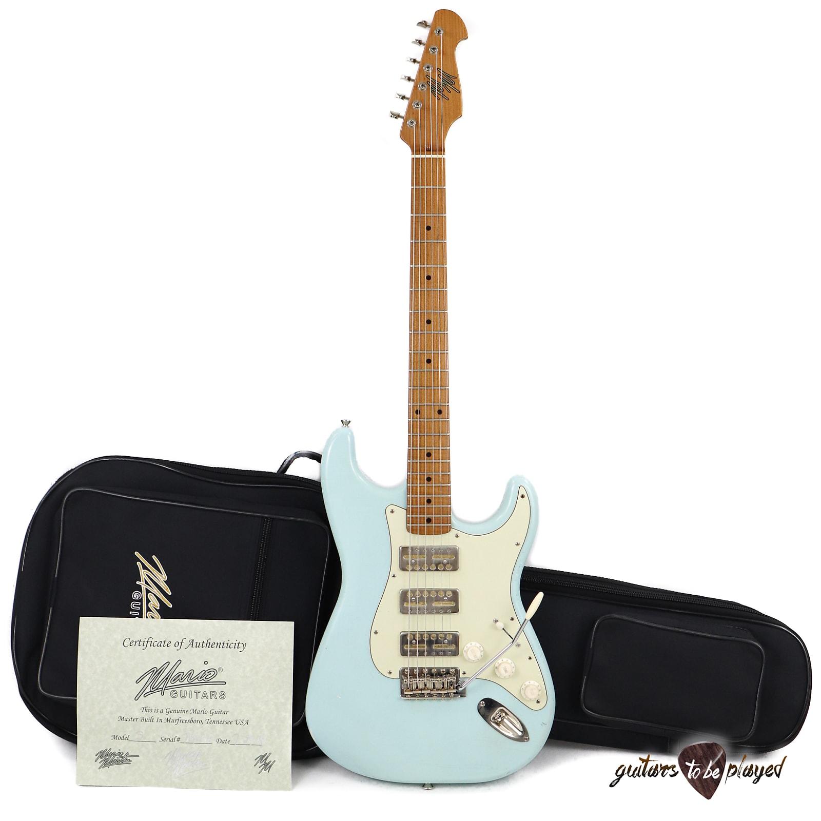 Mario Martin Guitars 1pc Swamp Ash S-Style w/ Lollar GoldFoils, Roasted Maple Neck - Sonic Blue