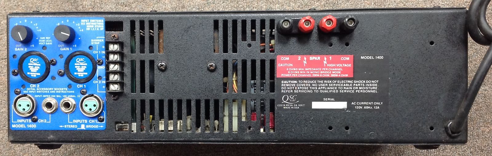 Qsc 1400 Professional Stereo Power Amplifier Amplifiers