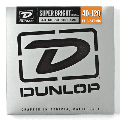 Dunlop DBSBN40120 Super Bright Nickel-Plated Steel 5-String Bass Strings - Light (40-120)