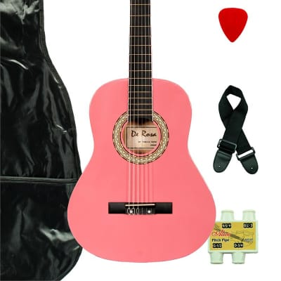 De Rosa DKF36-PK Kids Classical Guitar Outfit Pink w/Gig Bag, Strings, Pick, Pitch Pipe & Strap for sale