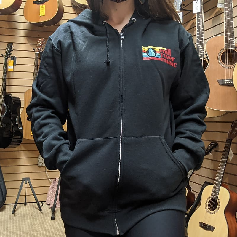 Mill River Music Zip Hoodie 1st Edition Main Logo Unisex Black Small