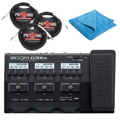 Zoom G3Xn Multi-effects Processor & Expression Pedal with 3 10ft Instrument Cables & Cleaning Cloth