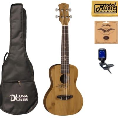 Luna Guitars Bamboo Concert Ukulele Bundle, UKE BAMBOO C