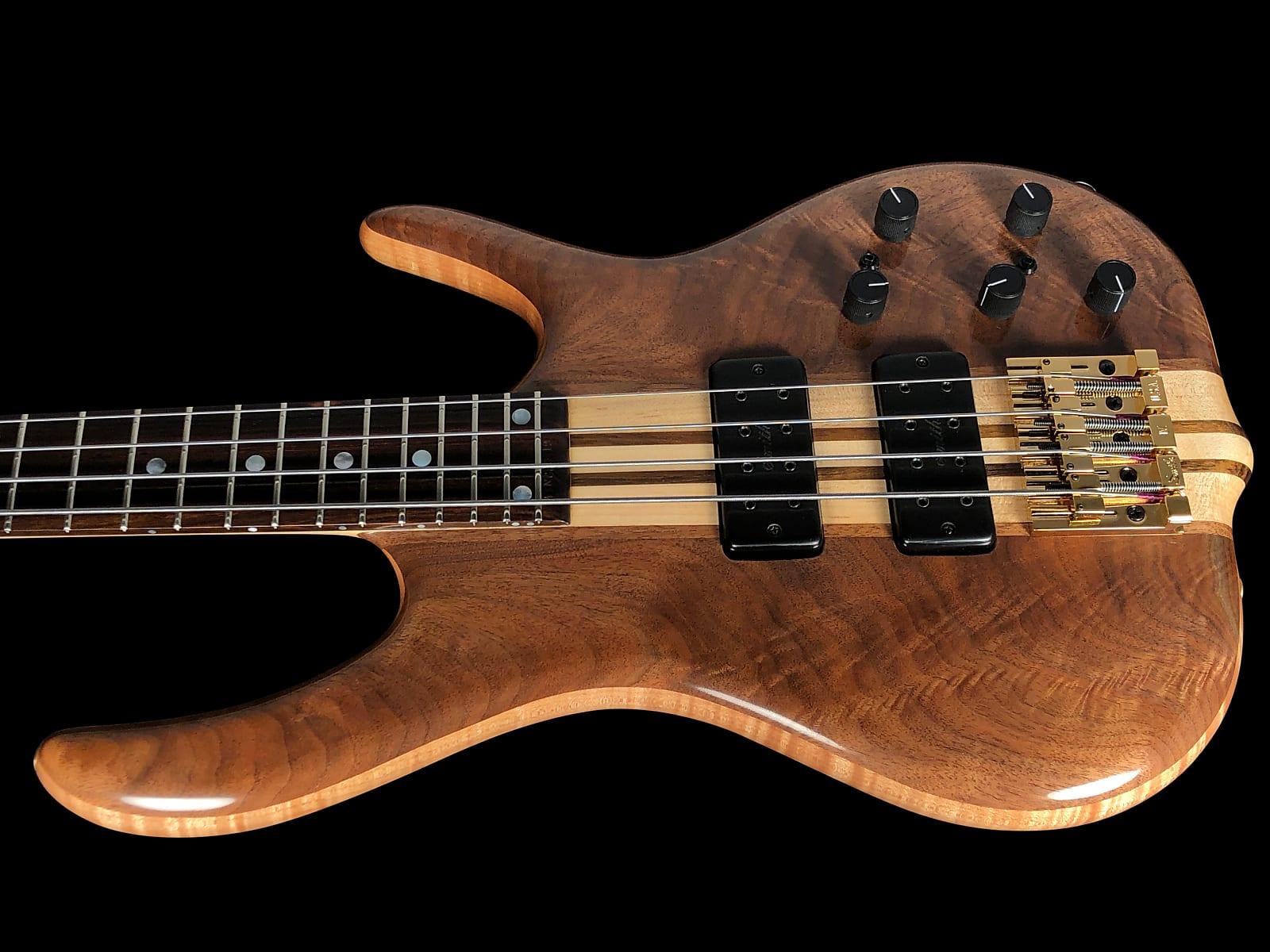2019 Ken Smith 4TN Black Tiger Figured Walnut BSR 4-String Bass w/ 18v Preamp & Neck-Thru