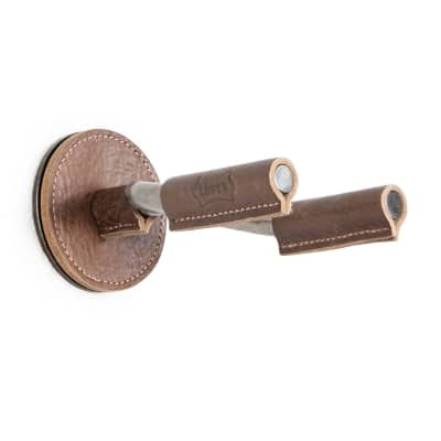 Levy's Forged Steel Guitar Hanger w/Smoked Metal & Brown Veg-Tan Leather Yoke Wraps for sale