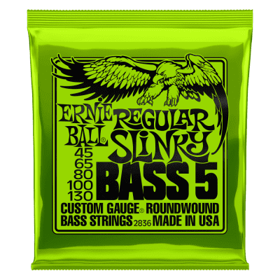 Ernie Ball P02836 REGULAR SLINKY 5-STRING NICKEL WOUND ELECTRIC BASS STRINGS - 45-130 GAUGE