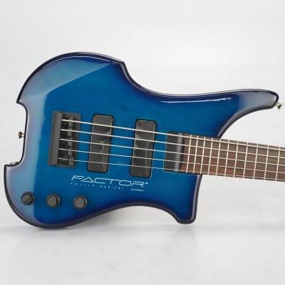 1980's Philip Kubicki Factor 5-String Bass Guitar Active/Passive Blue #38924