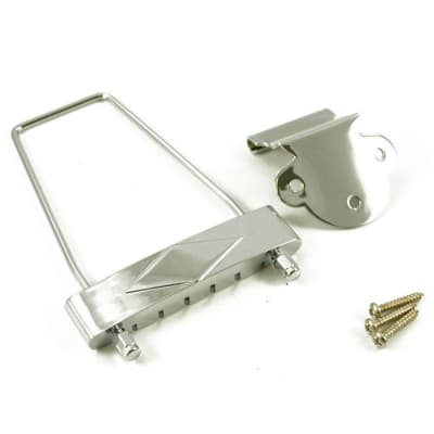 NEW Trapeze Tailpiece for Vintage Gibson® Hollow Body Guitar w/ Screws - CHROME