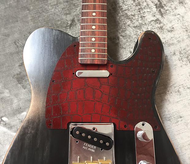 custom red aligator skin engraved bakelite pickguard fender reverb. Black Bedroom Furniture Sets. Home Design Ideas