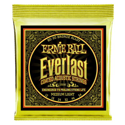 Ernie Ball 2556 Everlast Coated Medium Light Acoustic Guitar Strings, .012 - .054
