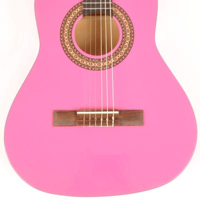 Omega Classical Kit 3/4 Size (36 1/2 inch)  Left Handed MPN Pink Acoustic Guitar for sale