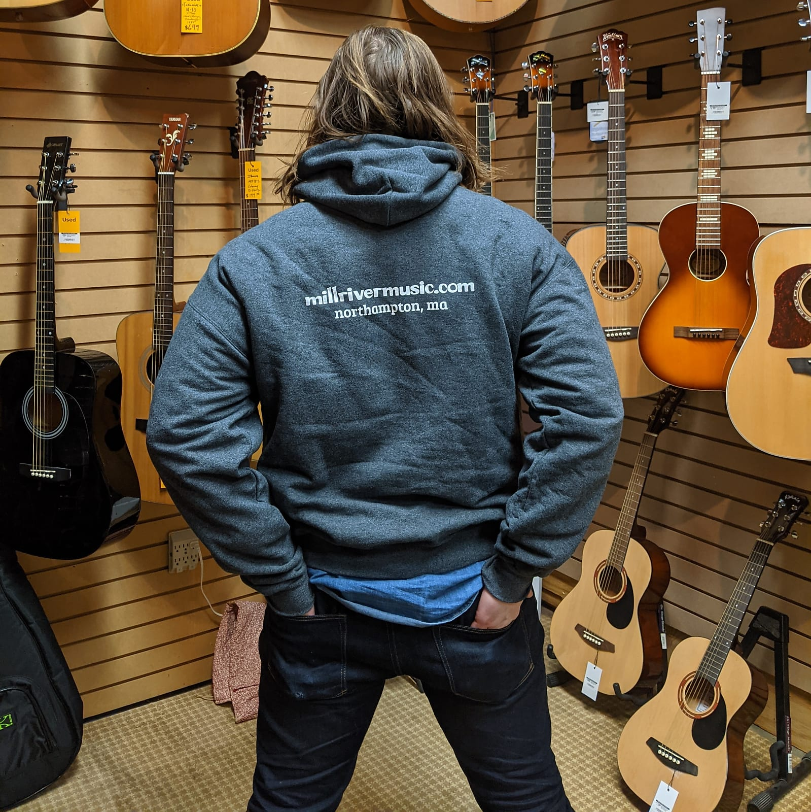 Mill River Music Pullover Hoodie 1st Edition Main Logo Unisex Ch Heather 2XL