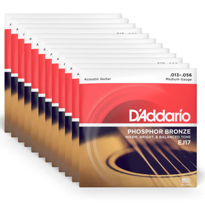 D'Addario EJ17 Acoustic Phosphor Bronze Medium 13-56 12 Pack Bundle