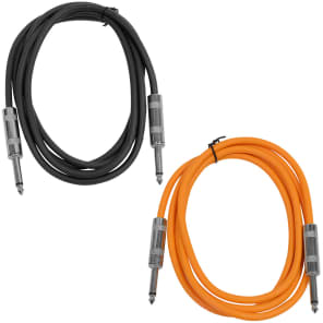 "Seismic Audio SASTSX-6-BLACKORANGE 1/4"" TS Male to 1/4"" TS Male Patch Cables - 6' (2-Pack)"