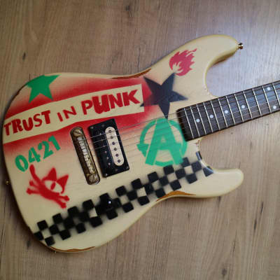 Custom painted Slick Guitars SL54 Skullcat QNSTANG trust in punk Stencil Graffiti Guitar