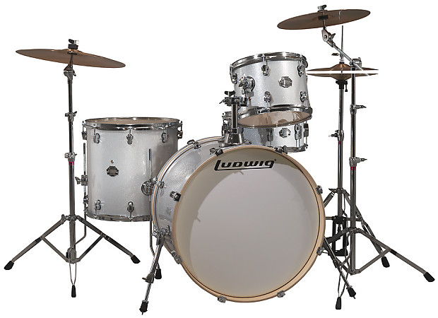 Ludwig LCF42R 4 Piece Element Icon Drum Kit White Sparkle With Hardware Cymbals