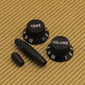 PK-FJ-B Fender Guitar Jazzmaster Knob Set Black T/V with Tremolo & Switch Tips