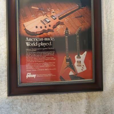 1983 Gibson Guitars Color Promotional Ad Framed Map Guitar, Reissue Flying V & Explored Original