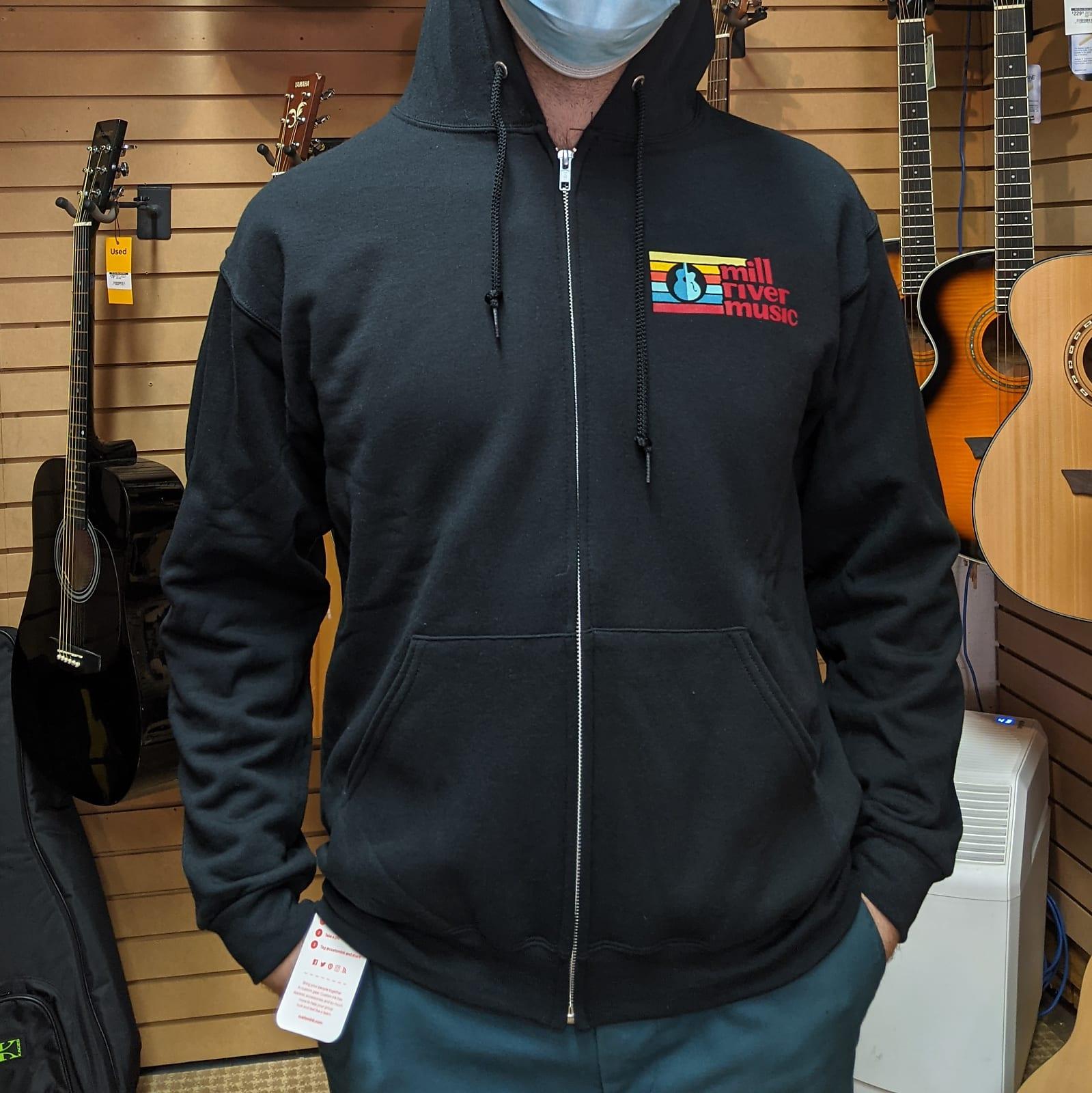 Mill River Music Zip Hoodie 1st Edition Main Logo Unisex Black Medium