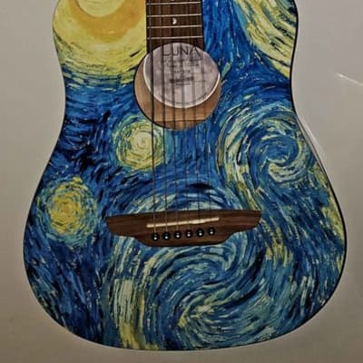 Luna Safari Starry Night 3/4 Size Travel Acoustic Guitar Starry Night Print