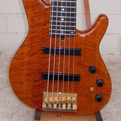 Heartfield DR6C 6-String Bass Guitar, Natural Beeswing Bubinga Top, 1990, by Fender for sale
