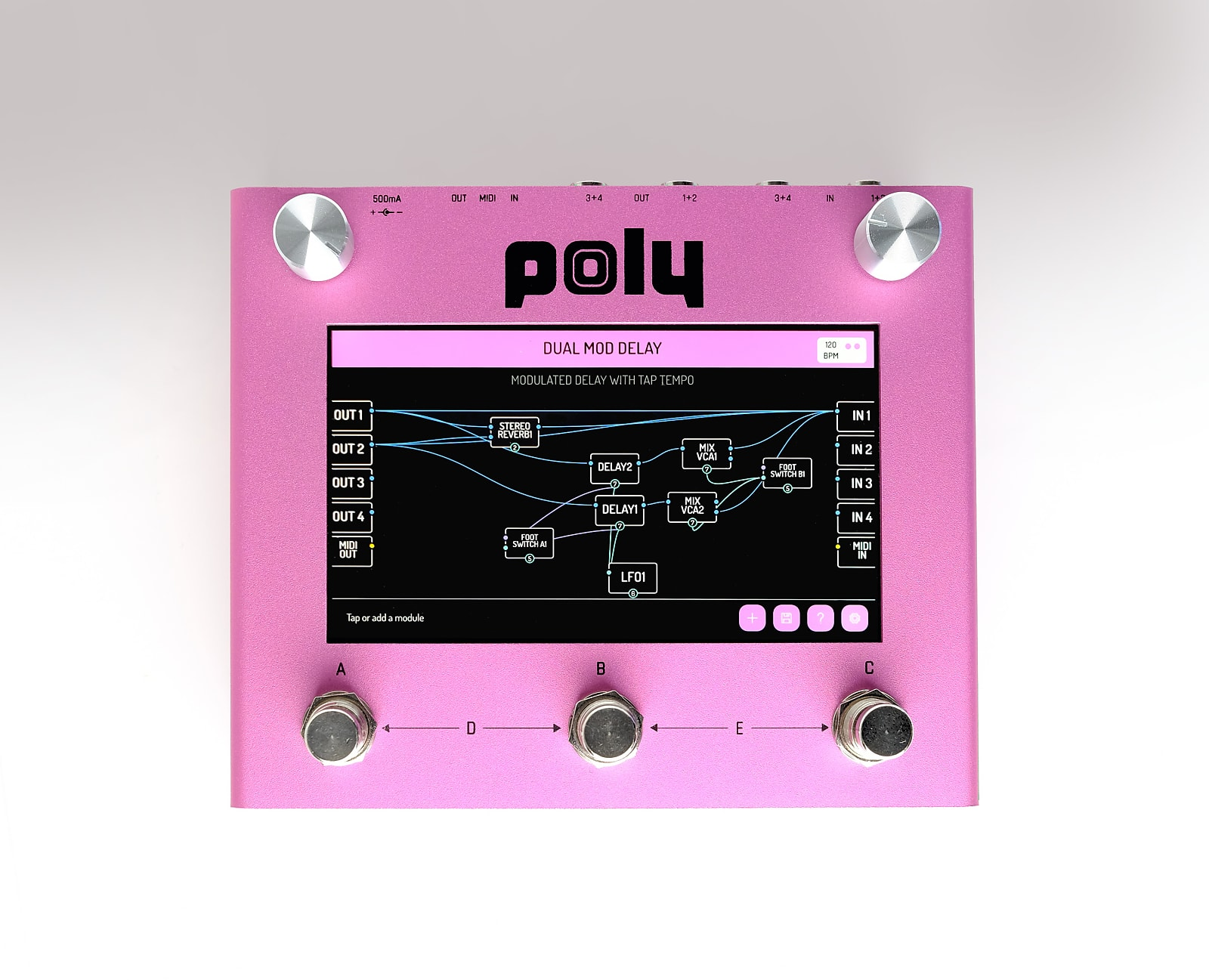 Poly Digit - Delay, Reverb. Touch screen visual modular pedal.