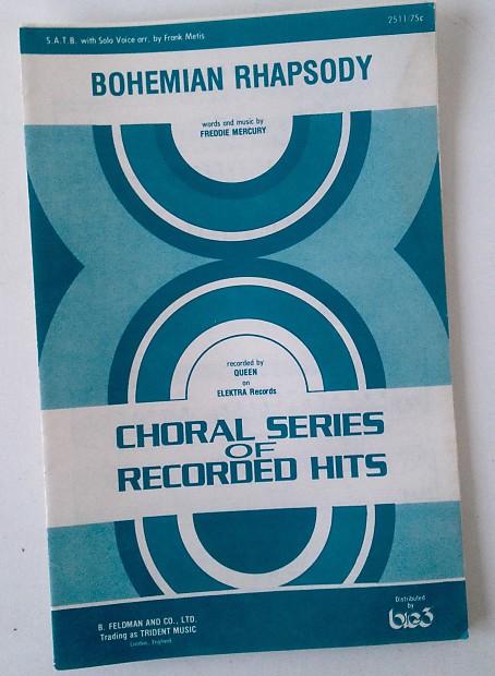 BOHEMIAN RHAPSODY Sheet Music Booklette QUEEN FREDDIE MERCURY Choral SATB  VOICE 1976 Wayne Garth
