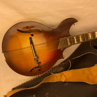 Vintage '70's Harmony H8025 Batwing Mandolin w/ Shadow Pickup Biker Leather Case for sale
