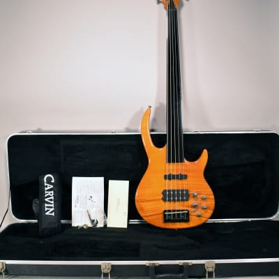 Circa 2000's Carvin  Bunny Brunel 5-String Flame Top Fretless Bass Guitar w/OHSC
