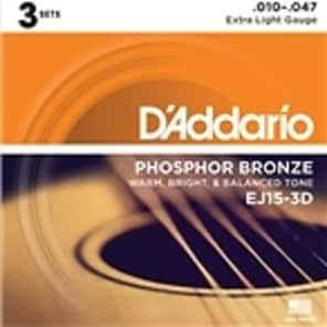 D'Addario EJ15 Acoustic Guitar Strings - Extra Light - 3 Pack for sale
