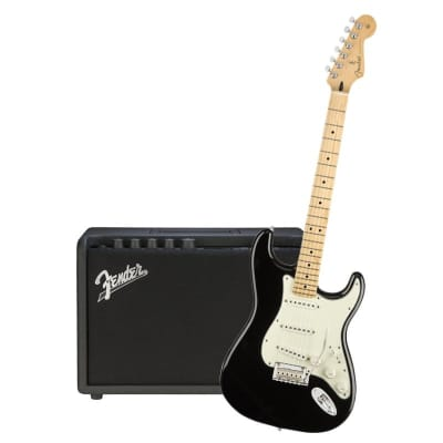 Fender Player Stratocaster Black Maple Neck & Fender Mustang GT 40 Bundle for sale