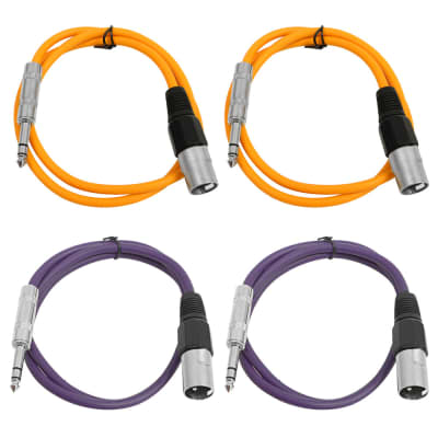 4 Pack of 1/4 Inch to XLR Male Patch Cables 3 Foot Extension Cords Jumper - Orange and Purple