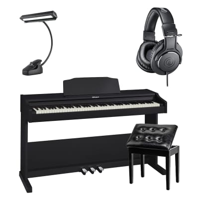 Roland RP-102-BK Digital Piano (Black) - Bonnlo Padded Piano Bench - 14 LED Music Stand Light - AT ATHM20X