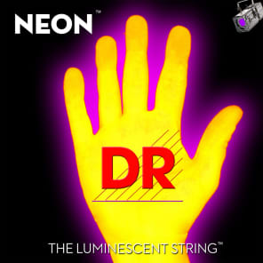 DR Neon Phosphorescent Yellow HiDef Light Electric Guitar Strings 9-42