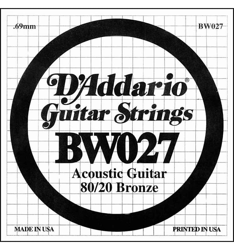 D/'Addario BW027 Bronze Wound Single Acoustic Guitar String .027