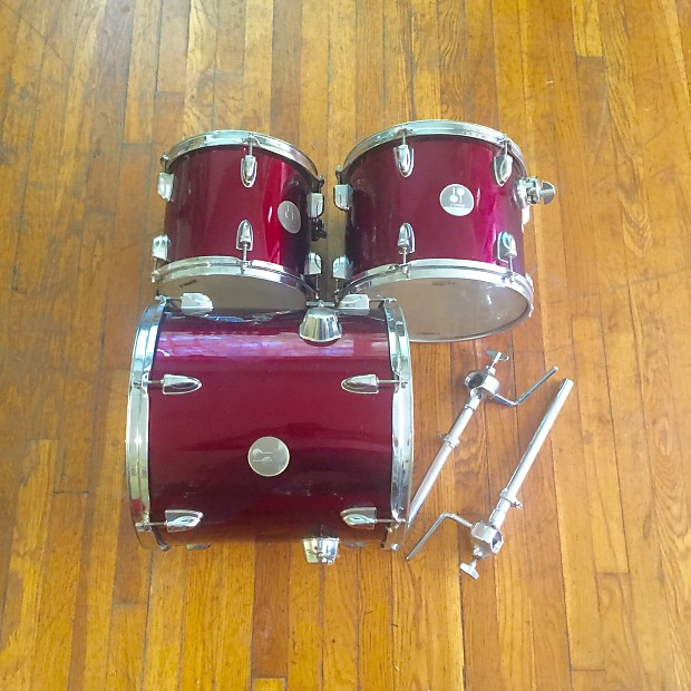 Sonor Force 505 2000s Candy Apple Red Toms And Mounts PACKED UP AND READY  TO GO
