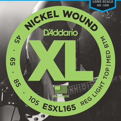 D'Addario ESXL165 Nickel Wound Bass Guitar Strings Medium 50-105 Double Ball End Long Scale
