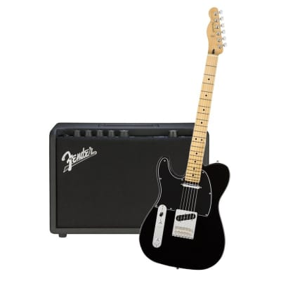 Fender Player Telecaster Left Hand Black Maple Neck & Fender Mustang GT 40 Bundle for sale