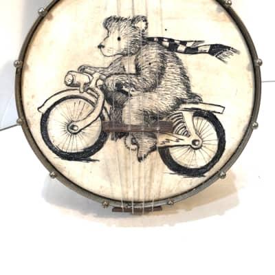 Regal made banjolele banjo uke with bicycle bear painted head The bicycle bear 1930s Wood