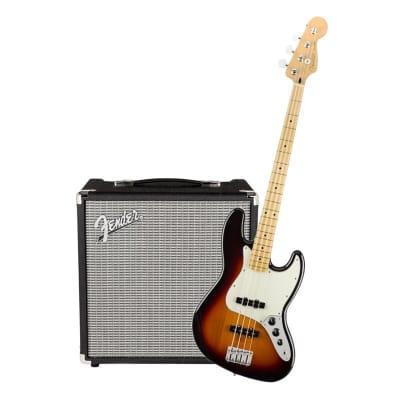 Fender Player Jazz Bass 3 Tone Sunburst Maple & Fender Rumble 25 Bundle for sale
