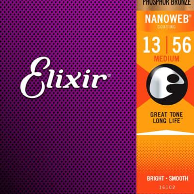 Elixir Nanoweb Phosphor Bronze Acoustic Guitar Strings 13-56 Medium 16102