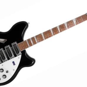 Rickenbacker 12 String Guitar, 3 Pickup Deluxe Thinline, Semi-acoustic Hollow Body inlaid neck, W/Case (Jet Glo) for sale