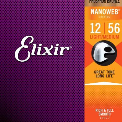 Elixir Nanoweb Coated Phosphor Bronze Acoustic Guitar Strings - Light/Medium 12-56