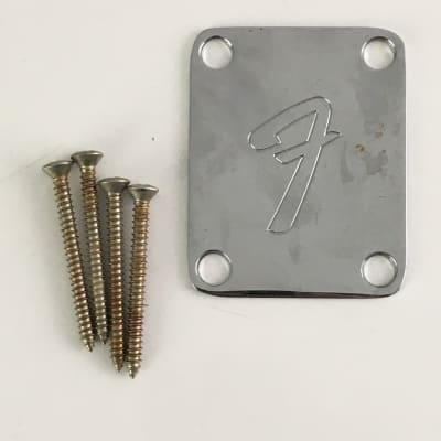 Genuine Fender CBS F Logo Relic Neck Plate Aged Chrome Plus Mounting Screws USA